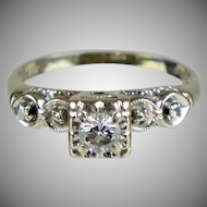 Art Deco Diamond .30ct Center Stone Engagement Ring