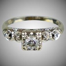 Art Deco Diamond .30ct Center Stone Engagement Ring
