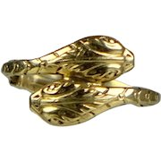Vintage 14K Gold Double Serpent Snake Ring  Unisex  Beautifully Sculpted Heads