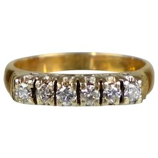 Vintage Art Deco 14K Rose Gold 6-Diamond Band Ring