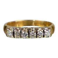Art Deco 14K Rose Gold 6-Diamond Band Ring
