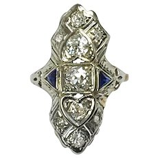 Art Deco 14K Gold Diamond Sapphire Dinner Ring