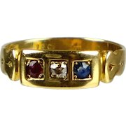 Victorian 18K Gold Diamond Ruby Sapphire Band Ring  English  Delicate