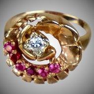 Retro 14K Rose Gold Diamond Ruby Ring  Flower-Like Design