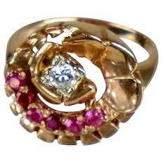 Retro 14K Rose Gold Diamond Ruby Ring  Flower-Like Design