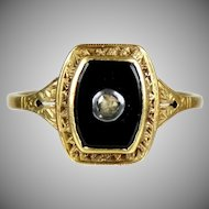 Art Deco 14K Gold Onyx Rose Diamond Ring