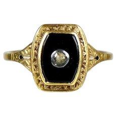 Art Deco 14K Gold Onyx Rose Diamond Ring