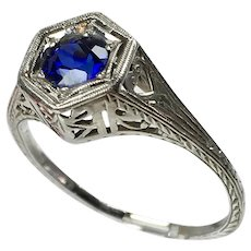 Art Deco 18K White Gold Filigree Sapphire Engagement Ring