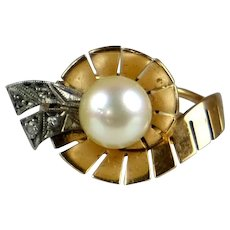 Vintage Retro 18K Rose Gold Cultured Pearls Ring   Diamond Accents