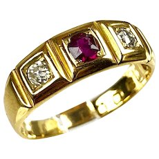 Antique English Victorian 18K Gold Diamond & Ruby Band Ring  English Registration Mark
