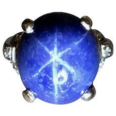 Art Deco Platinum Star Sapphire Diamond Ring