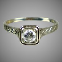 Art Deco 1930s 18K White Gold Diamond .40ct Engagement Ring