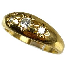 Victorian 14K Gold Diamond Gypsy Ring