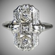 Art Deco 18K White Gold Diamond Dinner Ring.  Discrete