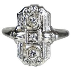 Art Deco 18K White Gold Diamond Dinner Ring.  Discrete
