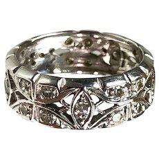 Wide Retro 14K White Gold Diamond Eternity Band Ring