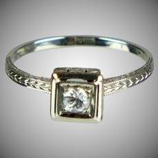 1930s 18K White Gold Diamond Engagement Ring