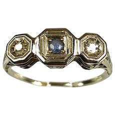 Art Deco 14K Gold Diamond Sapphire E to W Ring