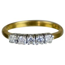 Art Deco 14K White & Yellow Gold Diamond Band Ring