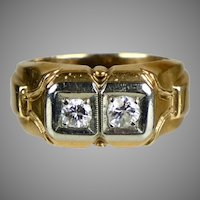 Retro c1940 14K Rose Gold 2-Diamond Ring Unisex