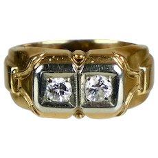 Retro c1940 14K Rose and White Gold Diamond Ring