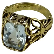 14K Gold Rectangular Aquamarine Ring