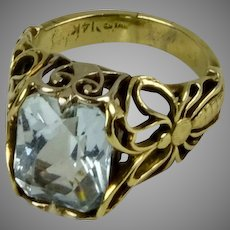 14K Gold Rectangular Aquamarine Ring
