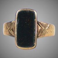 Art Deco English 9K Gold Bloodstone Ring