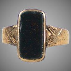 Art Deco English 9K Gold Bloodstone Ring