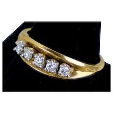Art Deco 14K Yellow Gold Diamond Band Ring