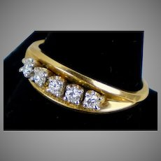 Art Deco 14K Yellow Gold Diamond Band Ring
