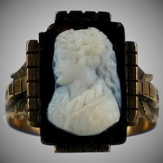 Victorian 14K Rose Gold Stone Cameo Ring