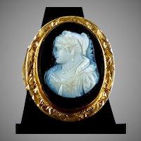 Victorian 14K Rose Gold Sardonyx Cameo Ring
