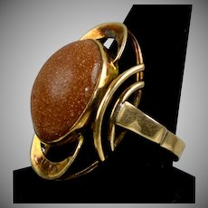 Retro 14K Rose Gold Goldstone Ring