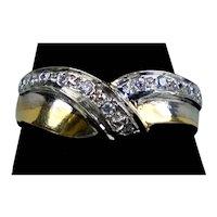 Vintage 14K 2-Color Gold Diamond Band Ring