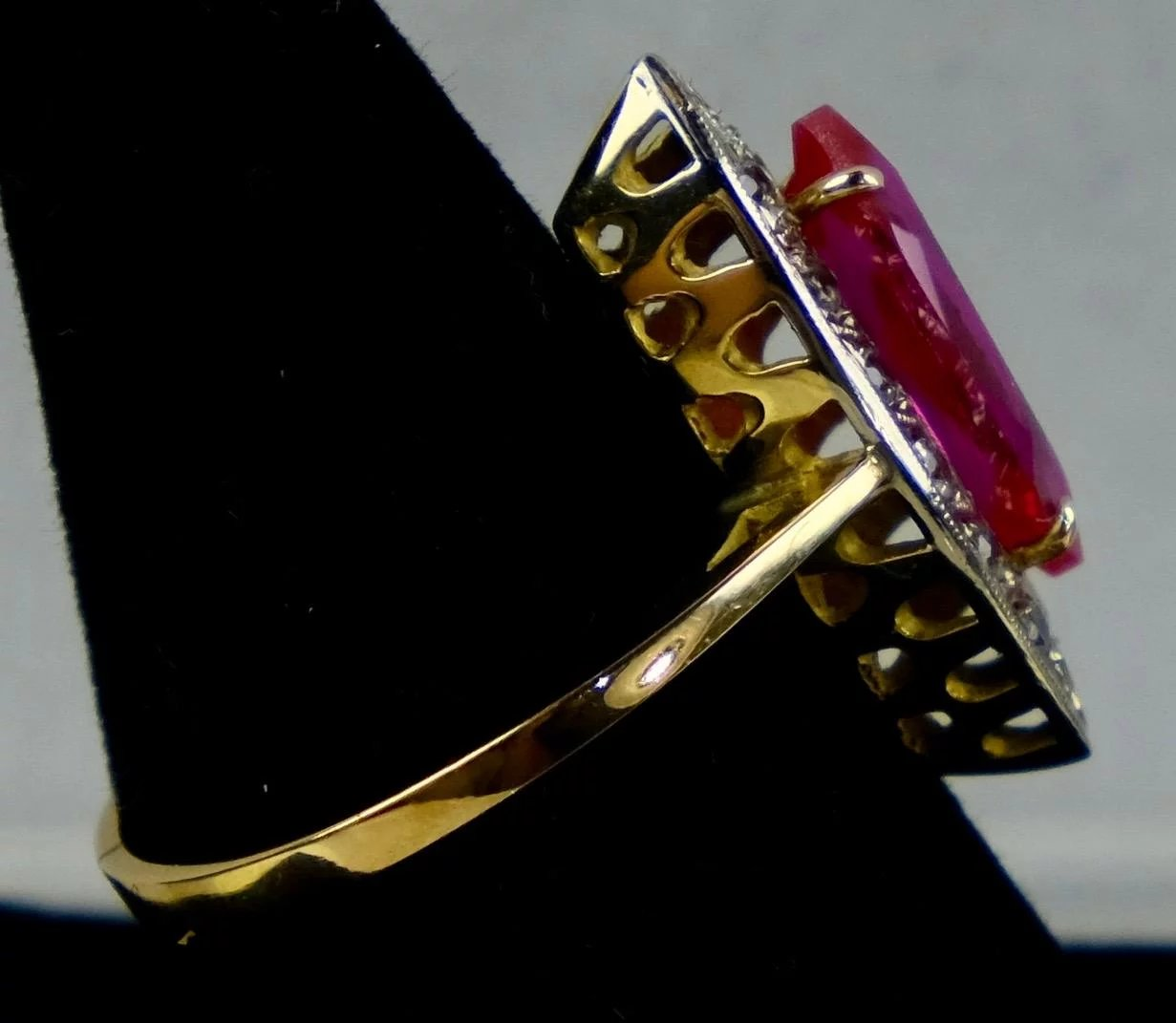 8K Rose Gold Marquise Pink Sapphire & Diamond Ring : ccFinds | Ruby Lane