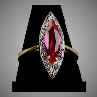 8K Rose Gold Marquise Pink Sapphire & Diamond Ring
