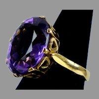 Large Retro c.1940s 14K Gold Amethyst Ring