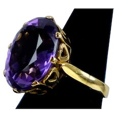 Large Retro c.1940s 14K Gold Amethyst Ring