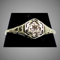 Art Deco Diamond Engagement Ring 14K White Gold Filigree