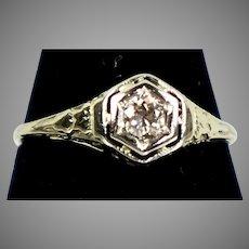 Art Deco Diamond Engagement Ring 14K White Gold Filigree