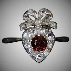 Victorian 14K Rose Diamond Ruby Heart  Ring