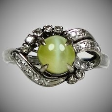 Retro 14K White Gold Diamond Green Cat's Eye Ring