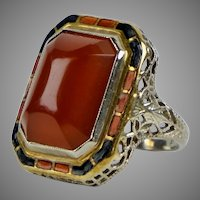 Art Deco 14K Gold Carnelian & Enamel Ring