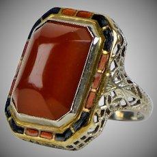 Art Deco 14K Gold Carnelian & Enamel Ring
