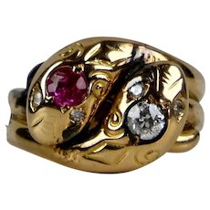 Victorian 14K Gold Diamond Ruby Double Serpent Snake Ring