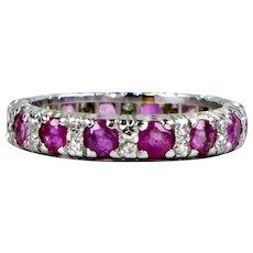 Vintage Platinum Ruby Diamond Eternity Band Ring