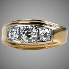 Chunky Retro 14K Rose Gold Diamond Ring