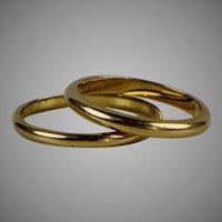 Pair 14K Gold Wedding Band Stacking Guard Rings