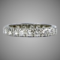 Vintage Platinum Diamond 1.60ctw Eternity Wedding Band Ring